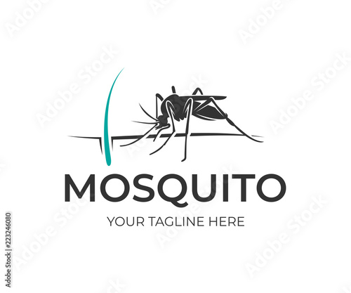 Mosquito sits on human skin with hair and follicle, logo design. Insect bloodsucking, nature, wildlife and healthcare, vector design - 223246080