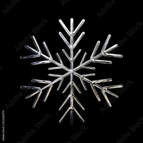 3d projekt płatka śniegu ikona z metal teksturą odizolowywającą na białym tle