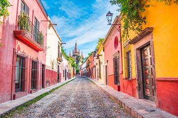 Beautiful streets and colorful facades of San Miguel de Allende in Guanajuato, Mexico