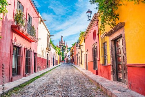 Beautiful streets and colorful facades of San Miguel de Allende in Guanajuato, Mexico - 223279205