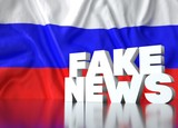 3d render, fake news lettering in front of Realistic Wavy Flag of russia.