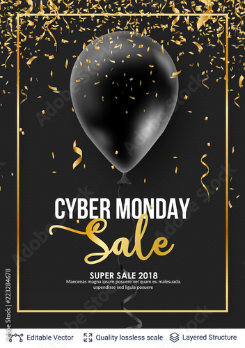 Cyber Monday Sale Background with balloons.