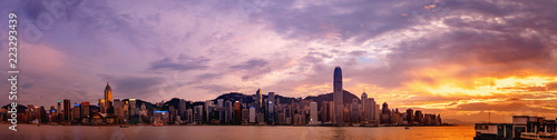 Hong Kong cityscape; Panorama from across Victoria Harbor