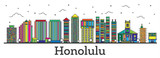Outline Honolulu Hawaii City Skyline with Color Buildings Isolated on White. - 223298857