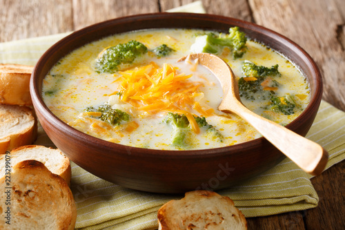 Spicy thick creamy broccoli cheese soup in a bowl with toast close-up. horizontal - 223299079