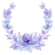 Wreath with Watercolor Light Violet Leaves and Flowers