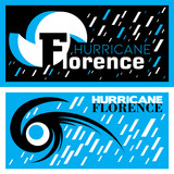 Two abstract vector mnemonic designs with rain and thunderstorm symbols of Hurricane Florence in blue and black color schemes - 223308870