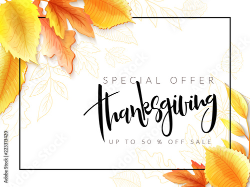 Vector greeting thanksgiving banner with hand lettering label - happy thanksgiving - with bright autumn leaves and doodle leaves - 223313420