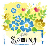 Vector illustration with lettering of Hello spring with different letters on colorful background with blue and golden flowers and leaves on yellow for decoration,greeting card,poster, banner,calendar - 223315028