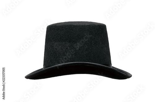 ed6afa10fb3 Black bowler hat isolated on white background.