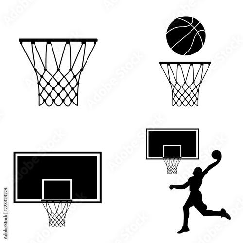 Basketball ring icon, silhouette, logo on white background
