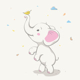 Lovely cute elephant playing with yellow leaf. Card with cartoon animal.