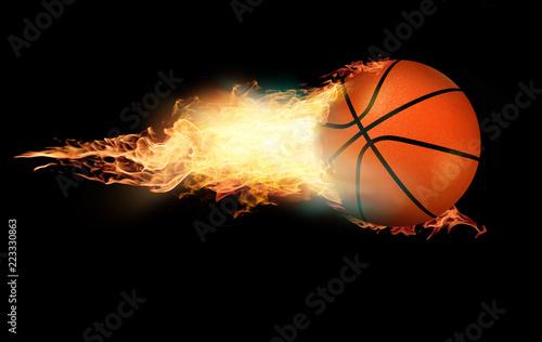 Koszykówka na ogień na czarnym tle