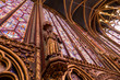 Stained glass windows inside the Sainte Chapelle a royal Medieval chapel in Paris, France