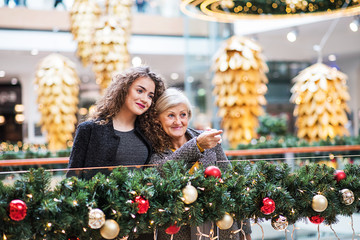 A portrait of grandmother and teenage granddaughter in shopping center at Christmas.