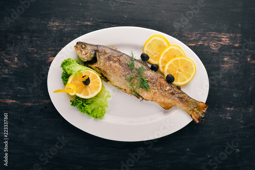 Baked Trout with Vegetables. On the old wooden background. Free space for text. Top view. - 223337861