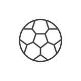 Soccer ball outline icon. linear style sign for mobile concept and web design. Football ball simple line vector icon. Symbol, logo illustration. Pixel perfect vector graphics - 223339634