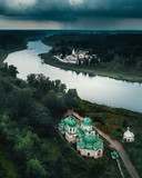 Ancient russian town Staritsa from above - 223339666