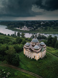 Ancient russian town Staritsa from above - 223339682