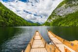Beautiful morning landscape. Colorful vintage boats. Inspirational nature background - 223351054