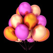 colorful balloon bunch purple orange pink colors. celebration, birthday, party, carnival decoration. 3d rendering, isolated on black