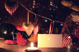 Wine candle valentine heart - 223355695