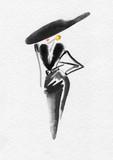 beautiful woman. fashion illustration. watercolor painting - 223360096