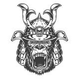 Vintage monochrome angry gorilla head