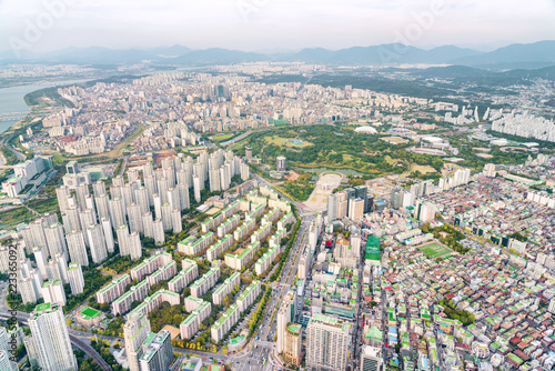Foto Murales Amazing top view of residential area of Seoul, South Korea