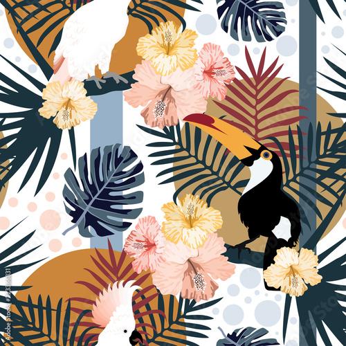 tropikalny-wzor-z-slodkie-tukany-papugi-kwiaty-i-liscie-wektor-lato-egzotyczne-tlo-tekstury-wlokienniczych