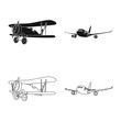 Vector illustration of plane and transport icon. Collection of plane and sky vector icon for stock.