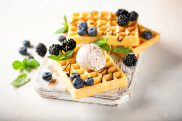 Belgian wafers with berries