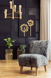 Patterned armchair in dark living room interior with chandelier above plants and poster. Real photo