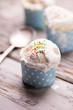 Delicious vanila icecream on a table