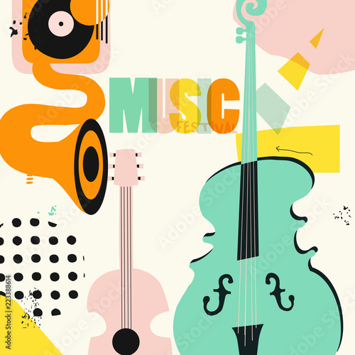 Music colorful background with music instruments flat vector illustration. Artistic music festival poster, live concert, creative design with word music and guitar, gramophone and violoncello © abstract
