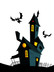 Creepy house on night background with a full moon behind. Vector Halloween background with haunted house and cemetery  © drawkman
