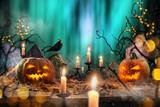 Halloween pumpkins on wooden planks. - 223391010