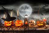 Halloween pumpkins on wooden planks. - 223391017