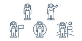 Astronaut Spaceman Cosmonaut Character Poses. Man on the Moon Concept. Space Travel. Minimal Flat Line Outline Stroke Icon. - 223393614
