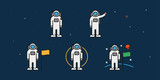 Astronaut Spaceman Cosmonaut Character Poses. Man on the Moon Concept. Space Travel. Minimal Color Flat Line Outline Stroke Icon. - 223393615