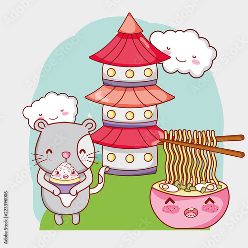 Fototapeta Cat and japan food kawaii