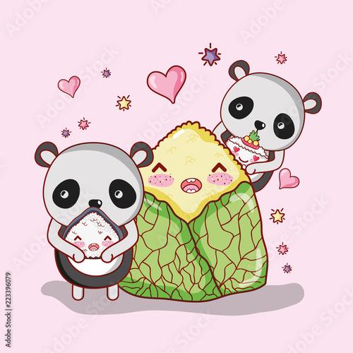 Fototapeta Sushi and pandas kawaii