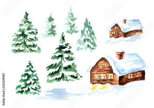 Winter  house with snow and fir set. Watercolor hand drawn illustration, isolated on white background