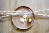 detox round wooden tray, candle, zen twigs and beautiful flowers - 223405446