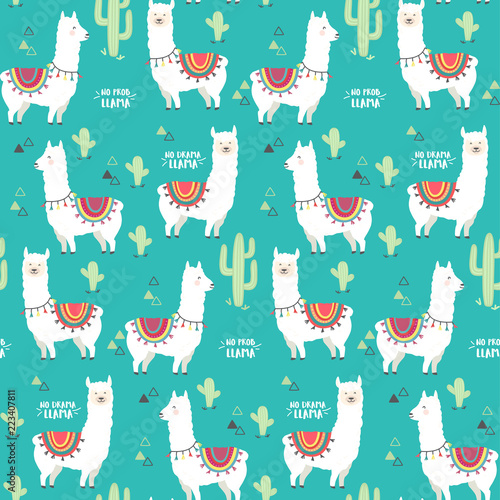 Cute White Llama Alpaca And Cactus Seamless Pattern Design Trendy