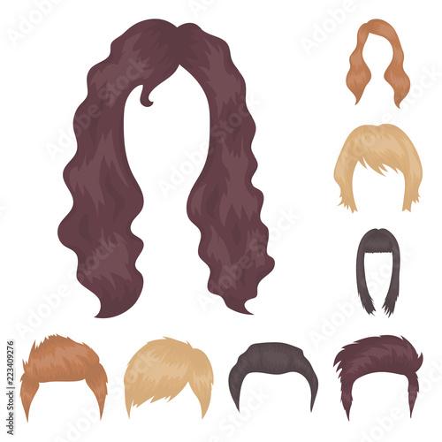 Wąsy i broda, fryzury kreskówka ikony w zestaw kolekcja dla projektu. Stylowa fryzura wektor symbol giełdzie www ilustracja.
