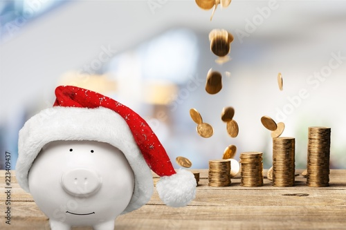 Piggy bank in christmas hat and coins - 223409437