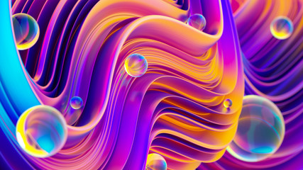 Ultraviolet 3D abstract twisted fluid liquid shapes with sparkling water drops