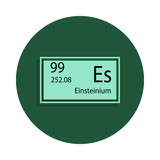 Periodic table element einsteinium icon in badge style. One of Chemical signs collection icon can be used for UI/UX