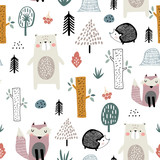 Seamless childish pattern with cute bear, fox, hedgehogs in the wood. Creative kids scandinavian style texture for fabric, wrapping, textile, wallpaper, apparel. Vector illustration - 223429424